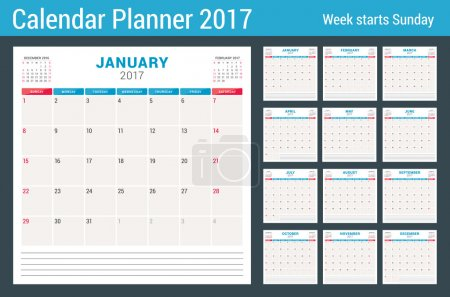 Calendar Planner for 2017 Year. Vector Design Template with Place for Notes. 3 Months on Page. Week Starts Sunday. Stationery Design. Set of 12 Months