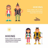 Hiking and Picknic Set of Flat Style Vector Illustrations for Web Banners or Promotional Materials Smiling Young Man and Girl with Backpack and Stick for Hiking
