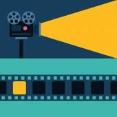 Promítačka a Film. Ploché styl vektorové ilustrace