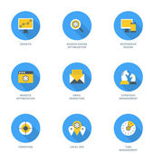 Set of Flat Design SEO Icons. Growth, Search Engine Optimization, Responsive Design, Strategic Management, Email Marketing, Website Optimization, Time Management, Targeting, Local SEO. Vector Icons