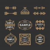 Set of Line Art Decorative Geometric Vector Frames and Borders with Golden and Black Colors Vector Ornaments Vector Decoration Line Ornament Vector Logos Vector Labels