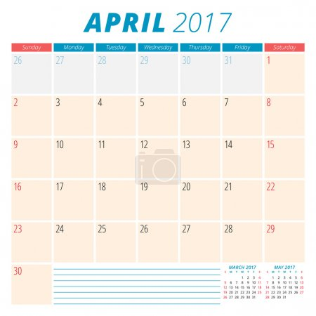 April 2017. Calendar Planner for 2017 Year. Week Starts Sunday. Stationery Design. 3 Months on Page. Vector Calendar Template