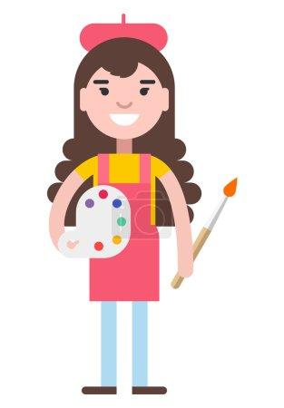 Illustration for Girl painter flat vector illustration isolated on white background - Royalty Free Image