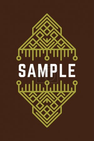 Slavic or Viking Style Oldfashioned Art Decorative Geometric Vector Frames and Borders. Green on Brown Background. Vector Ornaments, Vector Decoration, Line Ornament, Vector Logos, Vector Labels
