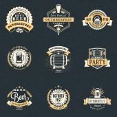 Beer Festival Octoberfest celebrations Set of retro vintage beer badges labels emblems Vector design elements