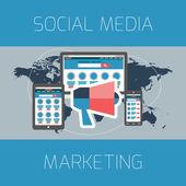Set of flat design concepts. Concept for social media marketing