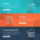 Flat design concept for coding, technical support and cloud comp