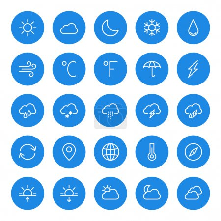 Illustration for Thin line weather icons set for web and mobile apps. White and blue colors flat design. Cloud, sun, rain, storm, snow, moon - Royalty Free Image