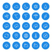 Thin line weather icons set for web and mobile apps White and blue colors flat design Cloud sun rain storm snow moon