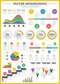 Big pack of data visualization vector infographics and design elements with business bar charts graph diagrams and icon set for brochures flyers and websites