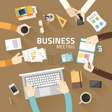 Illustration for Concept business of teamwork analyzing project on business meeting flat design vector illustration - Royalty Free Image