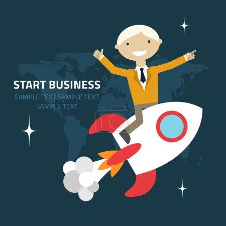 Illustration pour Illustration vectorielle de dessin plat d'un homme d'affaires assis sur une fusée pointant et montrant des directions - image libre de droit