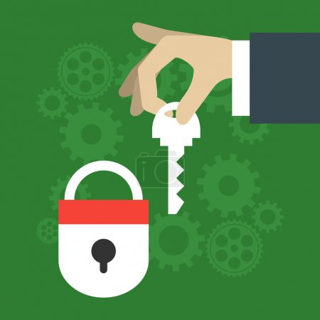 Security vector illustration concept in flat design style. Hand with key and closed lock