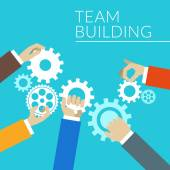 Flat design concept for team building. Hands with gears