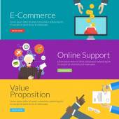 Flat design concept for e-commerce, online support and value proposition. Vector illustration for web banners and promotional materials