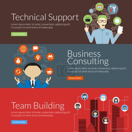 Flat design concept for technical support, business consulting and team building. Vector illustration for web banners and promotional materials