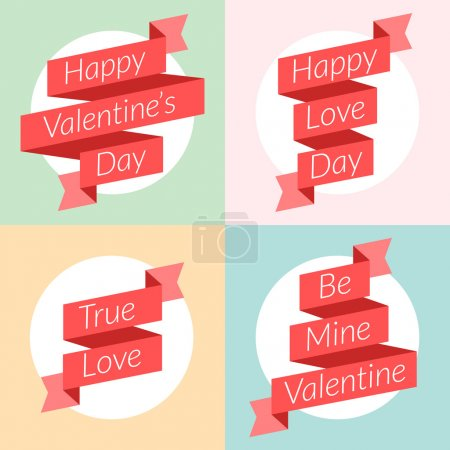 St. Valentine's Day card design. Vector illustration in flat design style. Ribbons with text