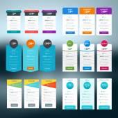 Sada vektorové cenové tabulky stylově plochý design pro webové stránky a aplikace