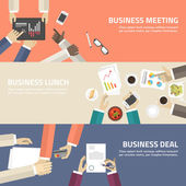 Flat design concept for business meeting, lunch, deal. Vector illustration for web banners and promotional materials