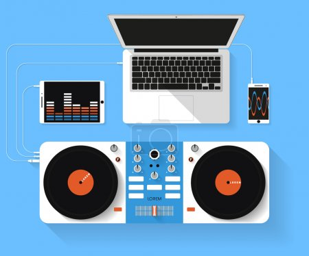 Flat design vector illustration of dj workspace. Top view of desk background with laptop, mixer, tablet pc and smartphone
