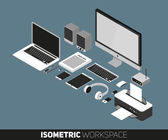 Flat design vector illustration of office workspace. Top view of desk background with laptop, office objects, notebook and documents with long shadows
