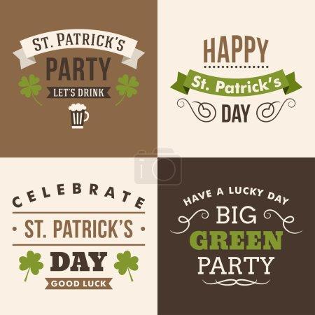 Illustration pour Ensemble vectoriel d'éléments de conception typographique de la St. Patricks Day. Le texte est décrit - image libre de droit