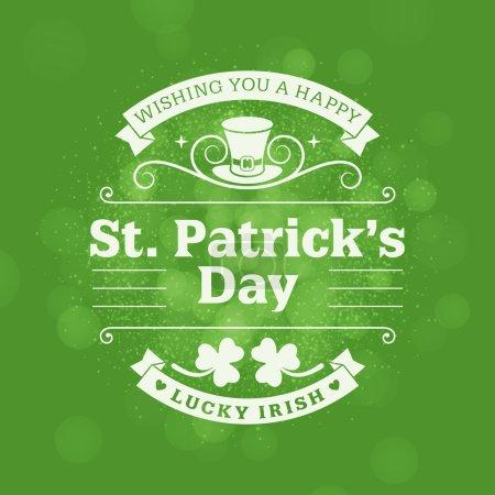 Conception de badge vintage vacances St. Patricks Day. Carte de voeux pour le dessin vectoriel ou une affiche avec la toile de fond vert floue