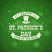St Patricks Day vintage holiday badge design Vector design greetings card or poster with blurred green backdrop Text is outlined