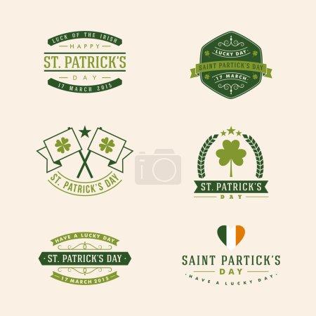 Illustration pour Jeu de cartes St. Patricks Day. Insigne de vacances vintage design - image libre de droit