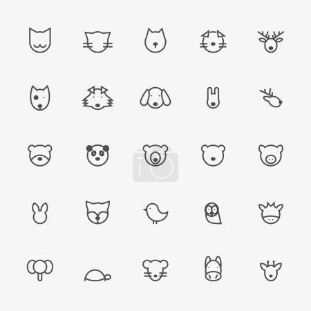 Set of Minimalistic Animal Line Icons. Vector Illustration