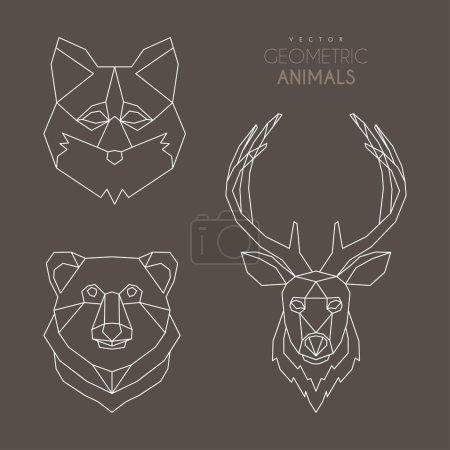 Illustration pour Ensemble d'illustrations vectorielles géométriques minimalistes pour animaux - image libre de droit