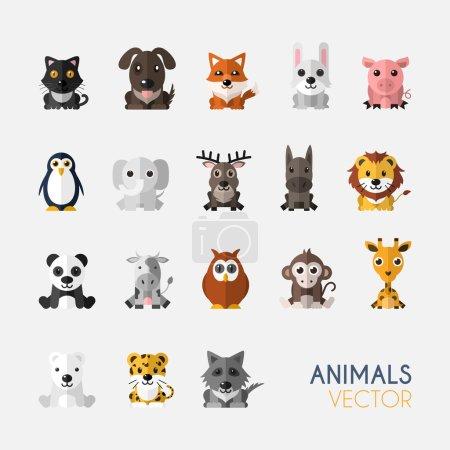 Illustration pour Ensemble d'animaux mignons avec design plat. Illustration vectorielle - image libre de droit