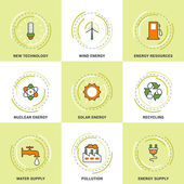 Modern Vector Ecology Line Icons Set New Technology Clean Energy Recycling Pollution Water and Energy Supply