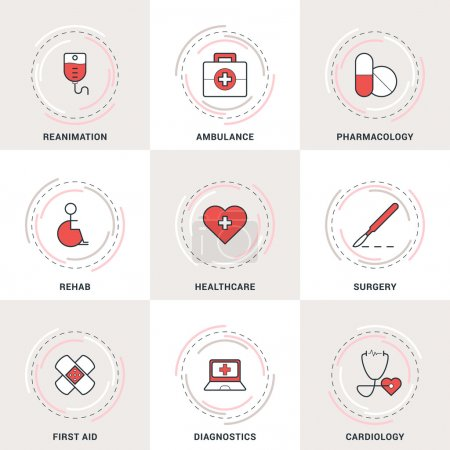 Modern Vector Medicine Line Icons Set. Ambulance, Reanimation, Healthcare, Cardiology, Pharmacology