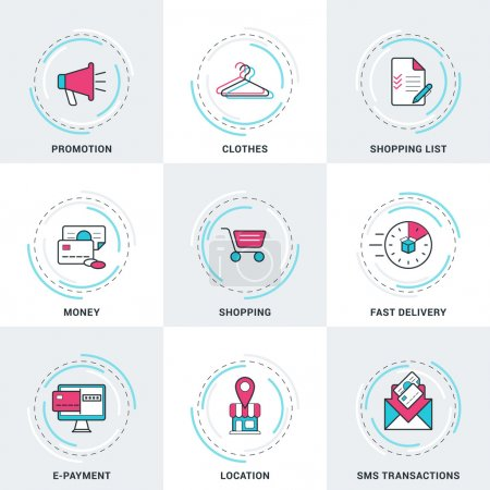 Modern Vector Business and Shopping Line Icons Set. Promotion, Money, SMS Transactions, E-Payment, Shopping, Delivery