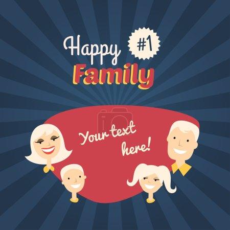 Illustration pour Joyeux Famille. Maman, Fils, Papa et Fille. Illustration vectorielle de conception plate avec place pour le texte - image libre de droit