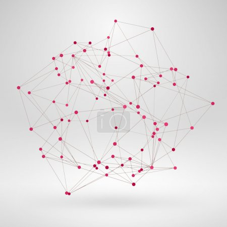 Illustration for Wireframe Polygonal Element. Abstract 3D Object with Thin Lines - Royalty Free Image