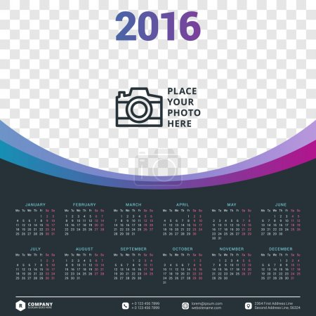 Calendar 2016 Vector Design Template