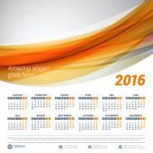 Calendar 2016 Vector Design Template Week starts Monday