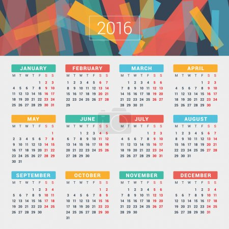 Calendar 2016 Vector Design Template. Week Starts Monday