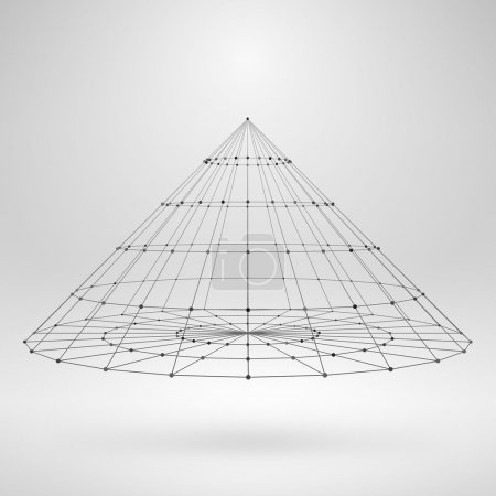Wireframe Polygonal Element. 3D Cone with Lines and Dots