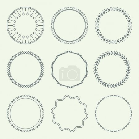 Set of Minimal Round Vintage Frames. Vector Illustration