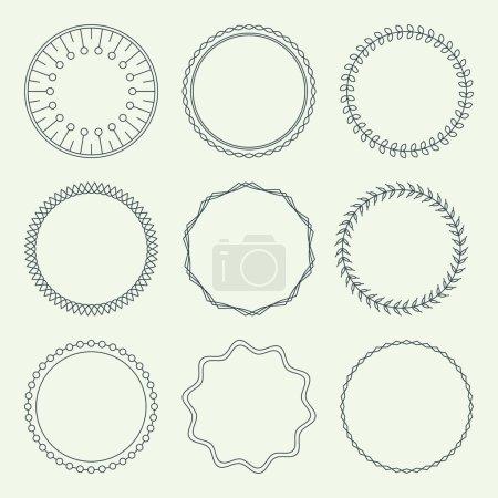 Illustration for Set of Minimal Round Vintage Frames. Vector Illustration - Royalty Free Image