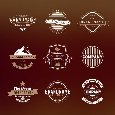 Set of Hipster Vintage Labels, Logotypes, Badges for Your Business