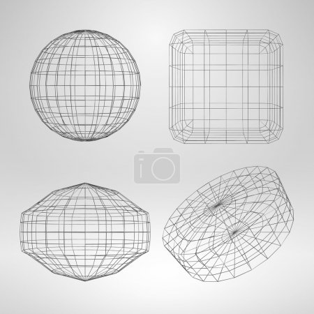 Set of Vector 3D Geometric Objects with Thin Lines