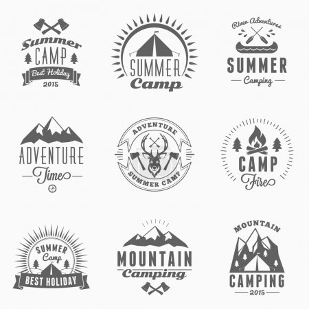 Illustration for Set of Retro Vintage Summer Camping Badges. Mountine Adventures and Outdoor Activities - Royalty Free Image