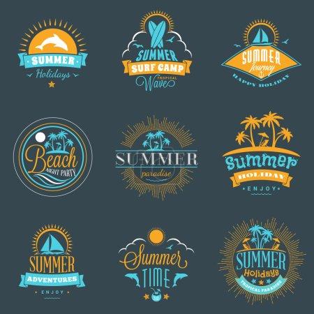 Set of Retro Summer Holidays Vintage Labels or Badges. Vector Design Elements