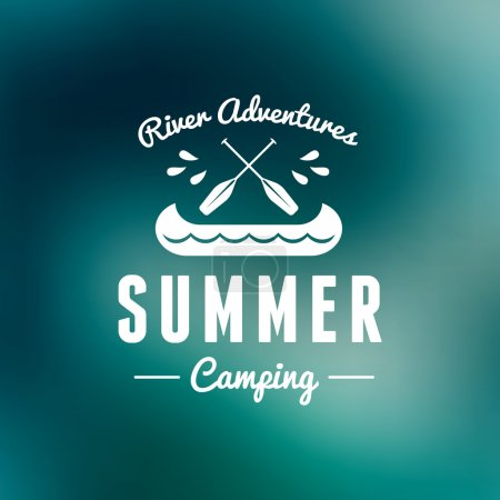 Illustration for Retro Vintage Summer Camping Badge. Mountine Adventures and Outdoor Activities - Royalty Free Image