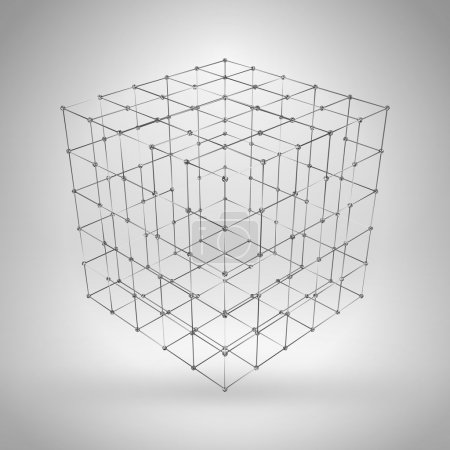 Illustration for Wireframe polygonal element. 3D cube with lines and dots - Royalty Free Image