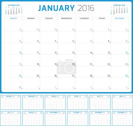 Calendar Planner 2016. Vector Design Template. Set of 12 Months. Week Starts Sunday